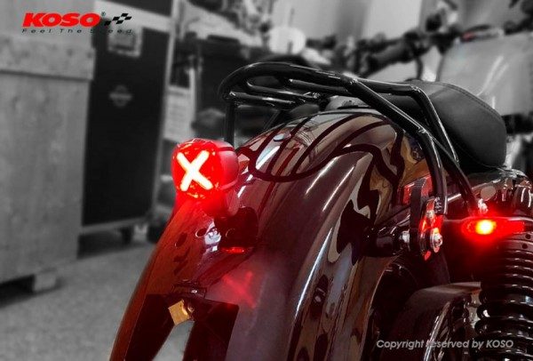 LED Nummernschildbeleuchtung, GT-02S Rotes Glas E-geprüft mit Halter