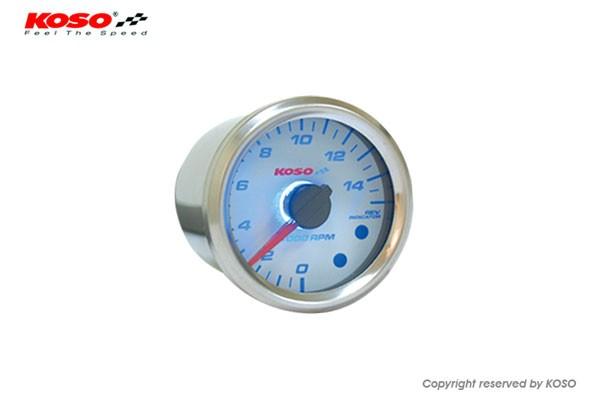 GP style universal tachometer - white (0 - 15000 RPM / 48mm)