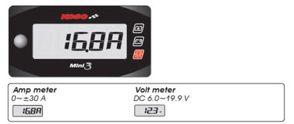 Ampere + Volt Meter Mini 3 (beleuchtet)