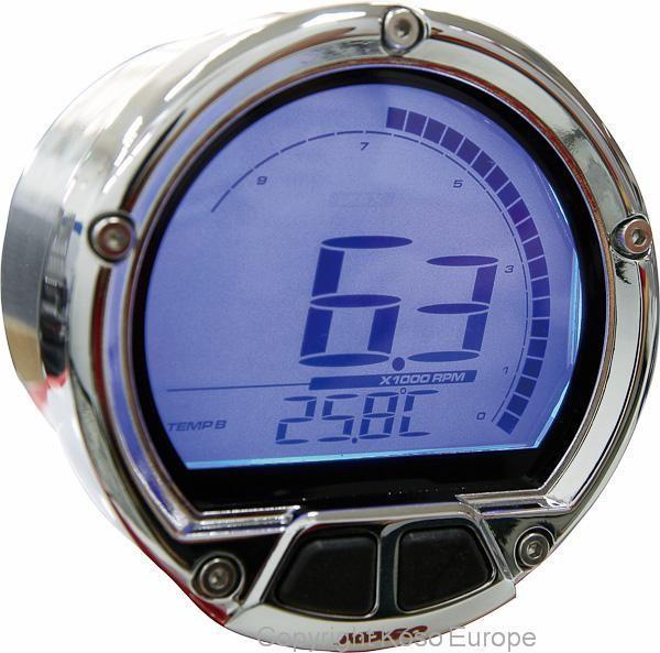 Anleitung D55 DL-02R Drehzahlmesser: Grafik gegen den Uhrzeigersinn / Drehzahl / Temperatur / Uhrzei