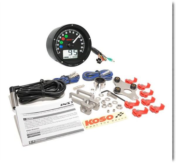 D75 Speedometer black panel, chrome bezel 0-140 km/h or MPH (adjustable) TÜV-approved