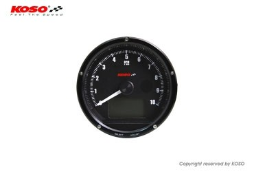 D75 Drehzahlmesser und Tachometer mit schwarzem Ziffernblatt und schwarzer Oberflaeche max 10000 U/m