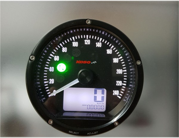 D75 Speedometer black panel, black bezel 0-240 km/h or MPH (adjustable)