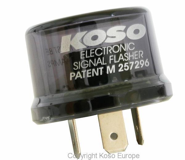 Blinkerrelais KOSO Digital, 12V, Stecker mit 3 Pins, inkl. Adapter, max. 15A, ohne akustisches Signa