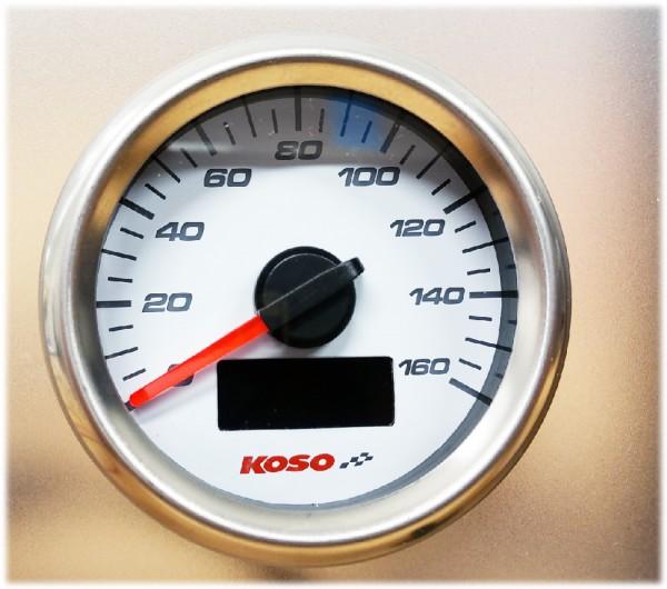 D48 GP Style Speedometer (max 160 kmh / mph, ODO, Trip) white face, external button