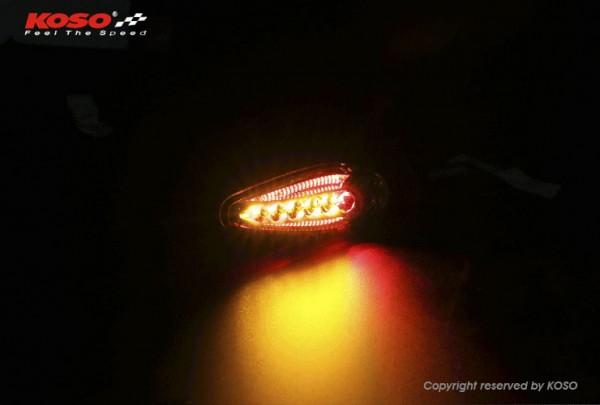 KOSO LED Blinker Sonic mit Rücklicht+Bremslichtfunktion, schwarz matt E-geprüft