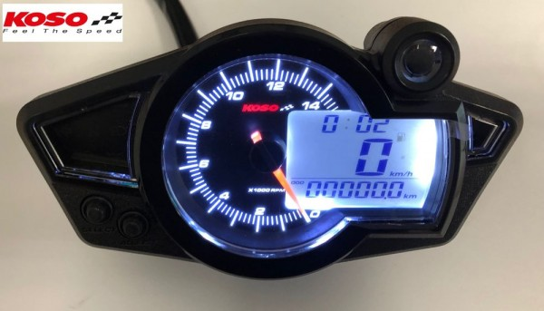 GP style speedometer RX1N black Display and white backlight RX1N GP Style (black/white) TÜV-approved
