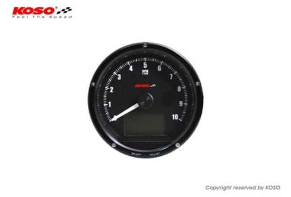 D75 Drehzahlmesser und Tachometer mit schwarzem Ziffernblatt und schwarzer Oberflaeche max 10000 U/min // 360km/h (mit Schaltblitz)