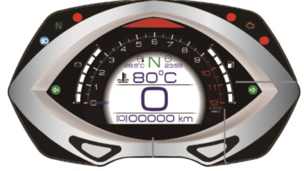 Koso RXF - fully equipped cockpit with TFT-technology Speedometer, Tachometer, ambient temperature meter, thermometer for oil- and water temperature, gear meter + shift light, fuel meter, odometer, trip meter, calender, clock, lean angle se