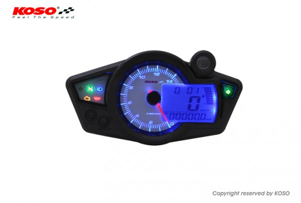 GP style speedometer RX1N white display and blue backlight RX1N GP Style (white/blue) TÜV-approved
