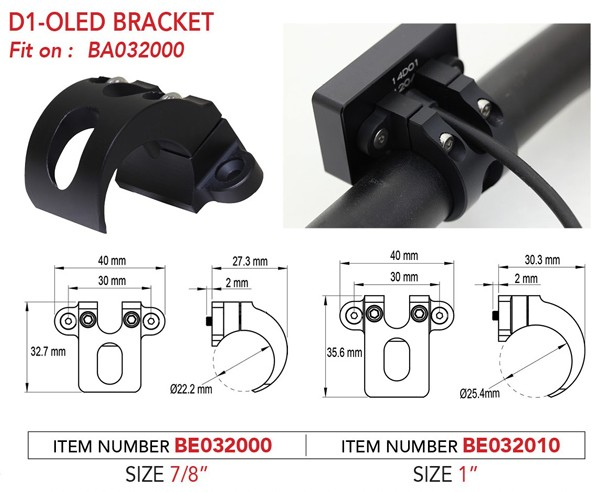 "Bracket for D1 OLED 7-8"" Handlebar"