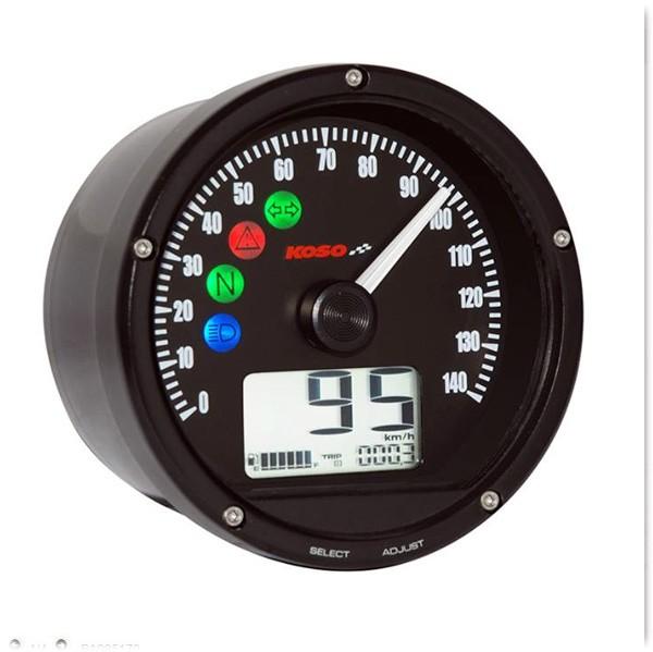 D75 Speedometer black panel, black bezel 0-140 km/h or MPH (adjustable)