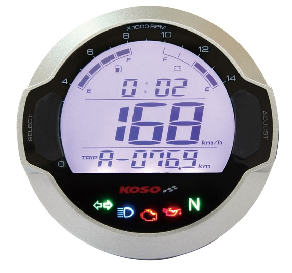 D64 DL-03SR Tachometer & Speedometer + indicator lamps (LCD Display) TÜV-approved