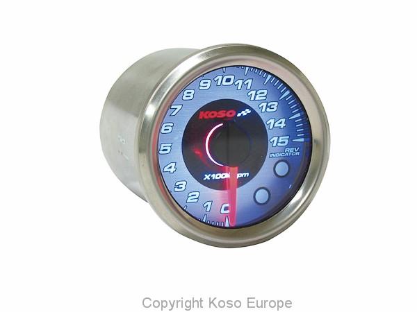 Drehzahlmesser Koso Chrom Style, Display Chrom, blau beleuchtet, Anzeige 0~15,000 RPM