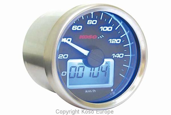 D55 GP Style Tachometer (max 160 kmh, schwarz, blau beleuchtet), mit ABE