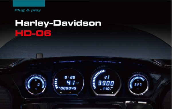 HD-06 Harley Touring LED Instrument Kit for 2014+ Blue Black