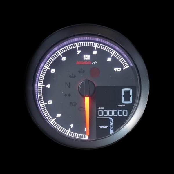 KOSO TNT-04 Speed- /Tachometer with black bezel TÜV-approved positive LCD