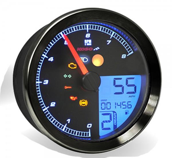 KOSO Drehzahlmesser / Tachometer passend fuer Yamaha XV950/Bolt / Yamaha SCR950 mit schwarzem Ring,