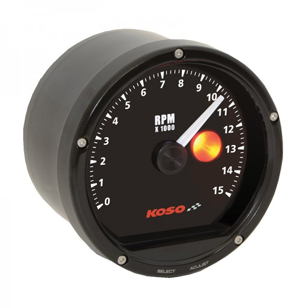 TNT Tachometer Black face 15000 RPM (with shiftlight)