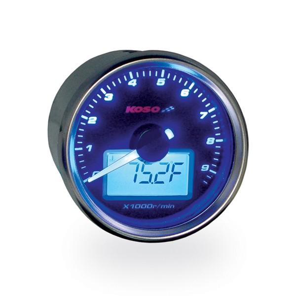 D55 GP Style Drehzahlmesser/Thermometer (max. 9000 U/min, max. 150 Grad C, schwarz)