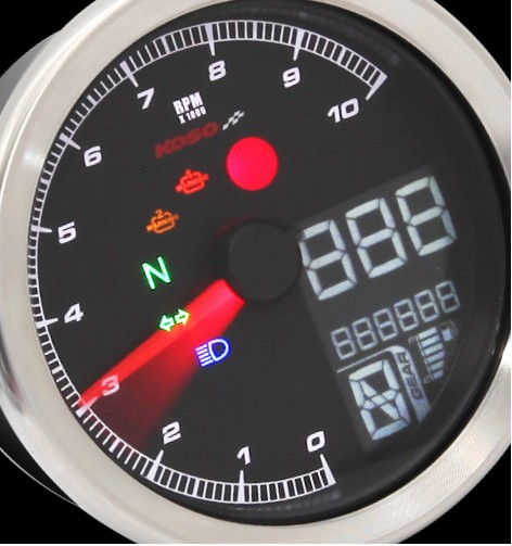 KOSO TNT-04 Speed- /Tachometer with Chrome Ring TÜV-approved positive LCD