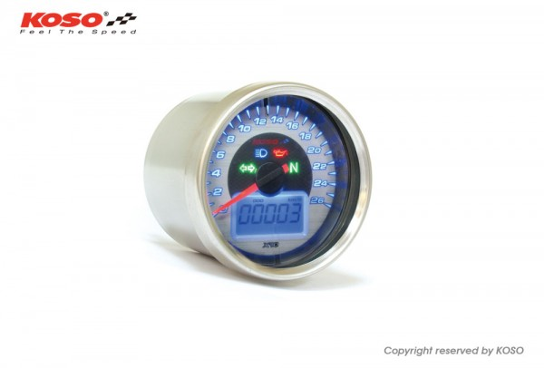 Chrome-Style Tachometer, Display chrom, blau beleuchtet, 0 - 260 km/h ABE